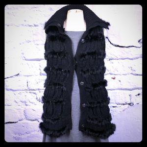 DVF Alcina rabbit fur vest black knit